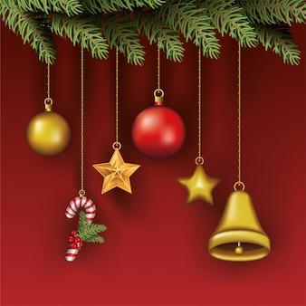 Wesołych świąt liście z zestawem wiszące ikony