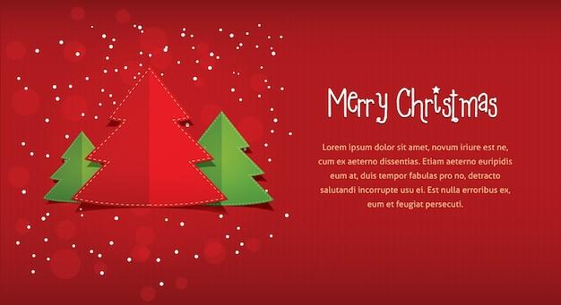 Wesołych świąt lub bożego narodzenia poziome czerwona pocztówka pozdrowienie projekt ulotki