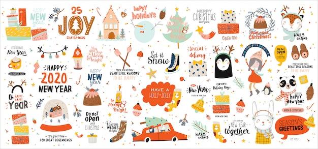 Wesołych świąt lub szczęśliwego nowego roku 2021 szablon z napisem wakacje i tradycyjnymi zimowymi elementami.