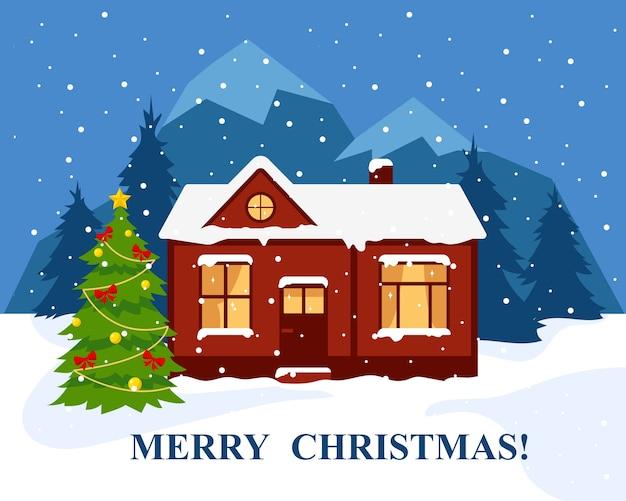 Wesołych świąt lub szczęśliwego nowego roku banner lub kartkę z życzeniami. zimowy dom w lesie w pobliżu gór i udekorowana choinka. ilustracja.