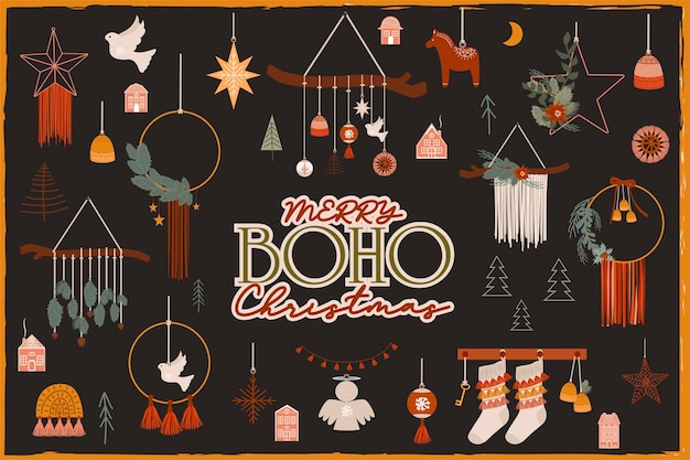Wesołych świąt lub szczęśliwego nowego roku elementy boho. element ferii zimowych w stylu skandynawskim. przytulne elementy wystroju domu hygge