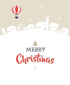 Wesołych świąt, magiczna zimowa wioska z napisem, nowoczesnym plakatem, kartką z życzeniami i ilustracją