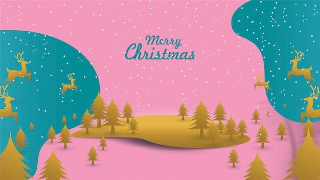 Wesołych świąt mikołaj na niebie z saniami renifera