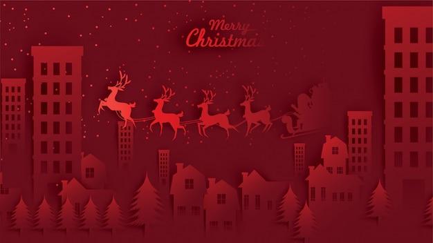 Wesołych świąt mikołaj sanie reniferów i worek prezent