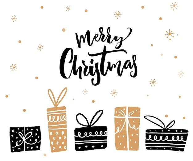 Wesołych świąt minimalistyczny projekt karty z tekstem kaligrafii i pudełkami na prezenty. kolory czarny i złoty.
