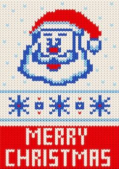 Wesołych świąt na drutach wzór. wesołych świąt i nowego roku dzianinowy wzór z napisem wesołych świąt, mikołaja i płatki śniegu.