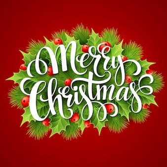 Wesołych świąt napis karty z holly, karty z pozdrowieniami