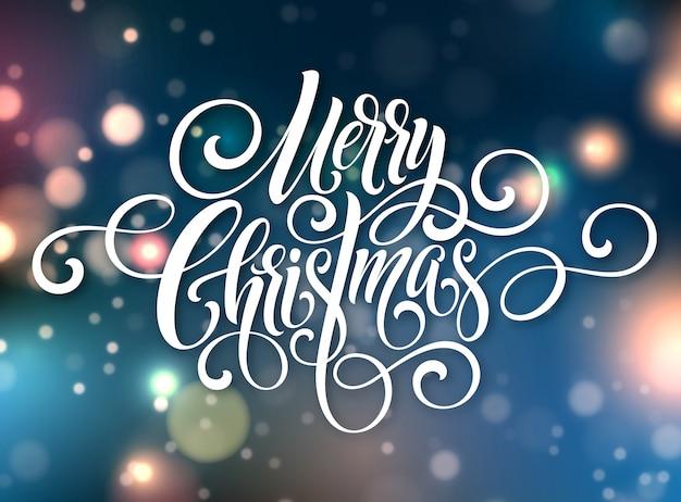 Wesołych świąt, napis pisma odręcznego. bożenarodzeniowy powitania tło z bokeh.