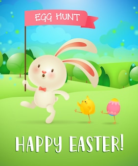 Wesołych świąt, napis polowania na jajka, króliczek, pisklę, jajko, krajobraz