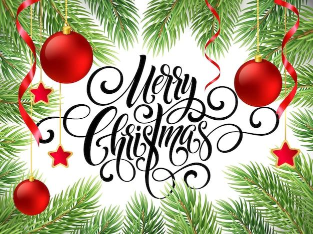Wesołych świąt napis skrypt pisma ręcznego. pozdrowienie tło z choinką i dekoracjami. ilustracja wektorowa eps10