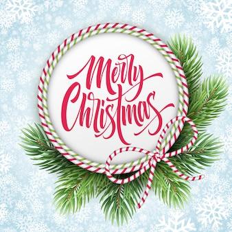 Wesołych świąt napis w ramie liny koło. boże narodzenie pozdrowienia z gałęzi jodły i pasiasty łuk. wesołych świąt kaligrafia w okrągłej ramce na tle płatków śniegu. projekt plakatu. ilustracja wektorowa