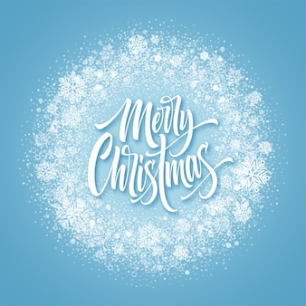 Wesołych świąt napis w śnieżnej ramce. konfetti bożonarodzeniowe, kurz mróz i płatki śniegu okrągła rama. wesołych świąt pozdrowienia na białym tle na zamarzniętym tle. projekt pocztówki. ilustracja wektorowa