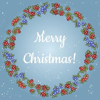 Wesołych świąt napis w wianku