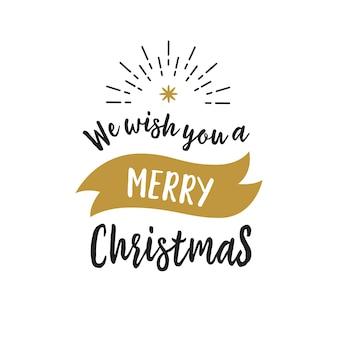 Wesołych świąt napis, wstążki i promienie
