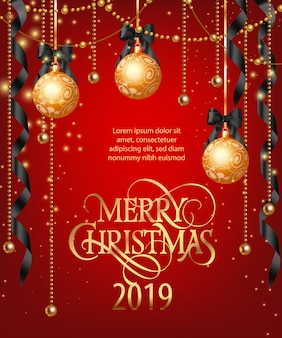 Wesołych świąt napis z bombkami i wstążkami
