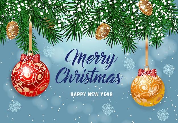 Wesołych świąt napis z bombkami