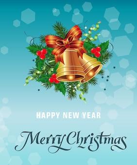 Wesołych świąt napis z dzwonami