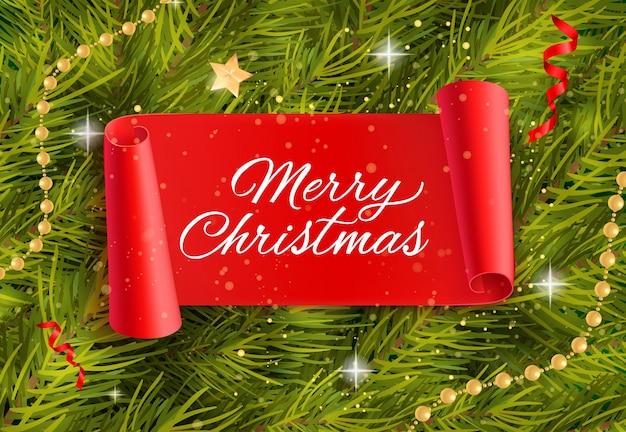Wesołych świąt napis z gałązek