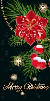 Wesołych świąt napis z poinsettia
