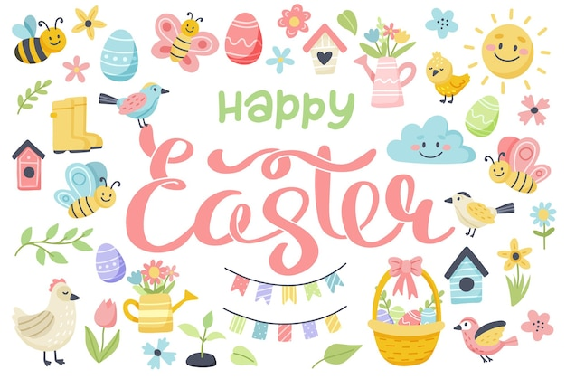 Wesołych świąt napis z słodkie jajka