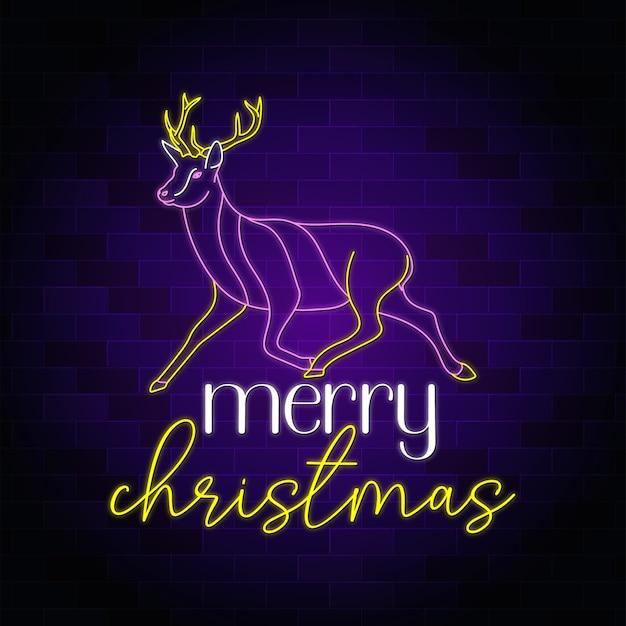 Wesołych świąt neon tekst z ilustracją jelenia