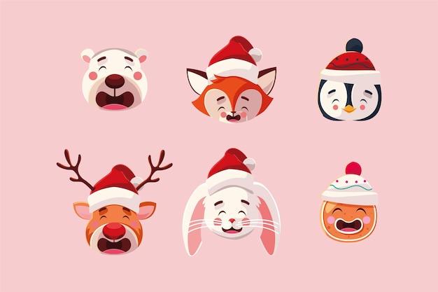 Wesołych świąt niedźwiedź lis pingwin renifer królik i piernik, sezon zimowy i motyw dekoracji