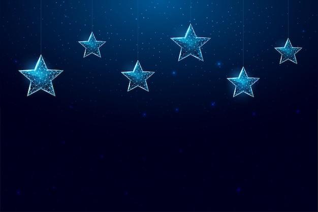 Wesołych świąt niski transparent poli. wielokątna ilustracja siatki szkieletowej z wiszącymi gwiazdami świątecznymi. streszczenie nowoczesne 3d wektor ilustracja na ciemnym niebieskim tle.