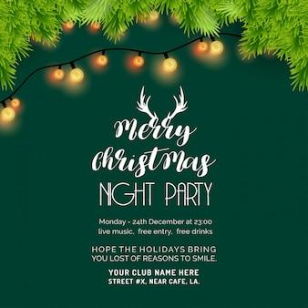 Wesołych świąt nocnych party zielone tło
