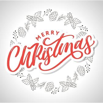 Wesołych świąt odręcznie napis nowoczesny pędzel