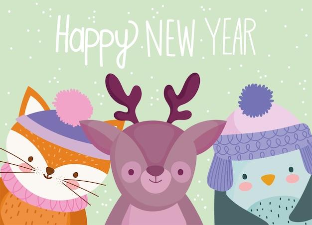 Wesołych świąt, odręczny napis i ilustracji wektorowych uroczych zwierzątek
