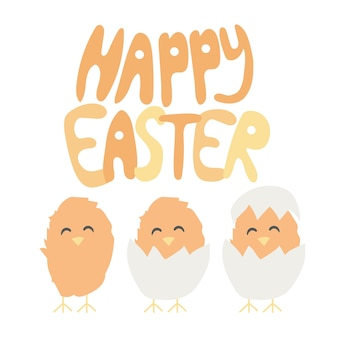 Wesołych świąt odręcznych czcionek z baby chiken wykluły się z jajka. idealny na wakacje, kartki, pozdrowienia, plakaty, wydruki, tło, okładki, wiadomości, banery, słodkie ilustracje