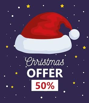 Wesołych świąt oferta sprzedaży projekt kapelusza santas, sezon zimowy i motyw dekoracji
