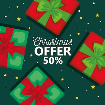 Wesołych świąt oferują wyprzedaż z prezentami, sezonem zimowym i motywem dekoracji
