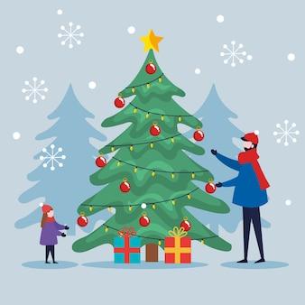 Wesołych świąt ojciec i syn z sosną i prezentami