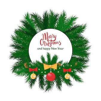 Wesołych świąt okrągła etykieta świerkowe gałęzie