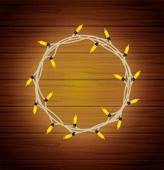 Wesołych świąt okrągłe ramki żarówki światła na drewnie