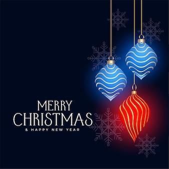 Wesołych świąt ozdobna kartka z życzeniami z bombkami