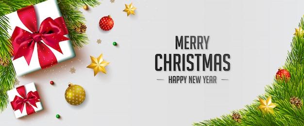 Wesołych świąt ozdobny transparent z elementami bożego narodzenia