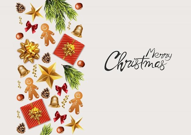 Wesołych świąt panoramiczny baner z dekoracjami świątecznymi