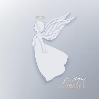 Wesołych świąt papieru wyciąć transparent z białym aniołem