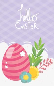 Wesołych świąt pasiaste różowe jajo kwiaty liści dekoracji ilustracji