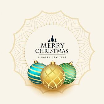 Wesołych świąt piękne pozdrowienia z kulkami dekoracji