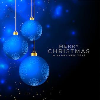 Wesołych świąt piękne tło z wiszącymi bombkami