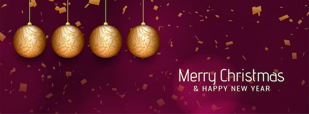Wesołych świąt piękny transparent z bombkami