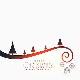 Wesołych świąt płaska kartka z drzewem i kulkami
