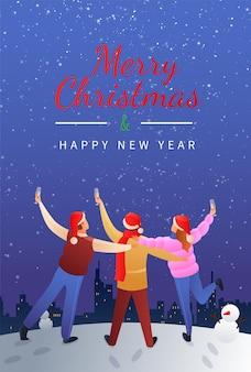 Wesołych świąt płaski plakat gradientowy z młodymi ludźmi trzymającymi kieliszki szampana w nocnym gwiaździstym niebie