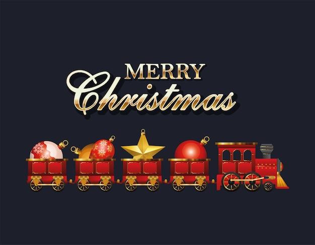 Wesołych świąt pociąg z projektami kul, sezonem zimowym i motywem dekoracji