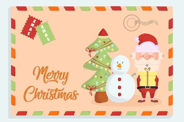 Wesołych świąt pocztówka w stylu retro vintage