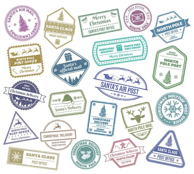 Wesołych świąt pocztowych znaczki pocztowe świętego mikołaja dostarczanie poczty lotniczej boże narodzenie drzewo renifer piernik wektor zestaw