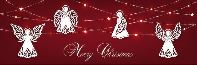 Wesołych świąt poziome kartki świąteczne. białe anioły, girlanda z błyszczącymi gwiazdami na białym tle